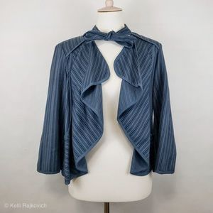 CAbi Blue Stripe Peplum 870 Open Jacket